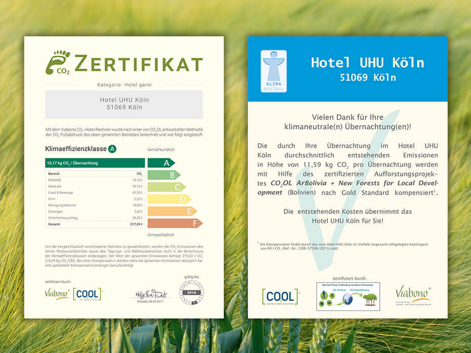 Zertifikate Nachhaltigkeit Hotel UHU Köln